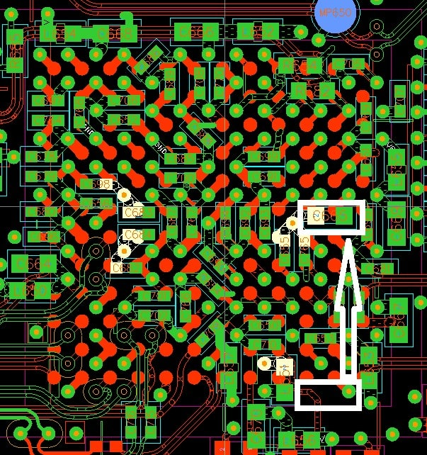 PCB decoupling Capacitor close to a pin
